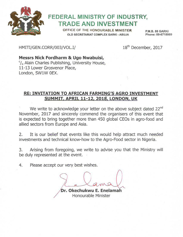 Agro Investment Summit  Endorsement Letters